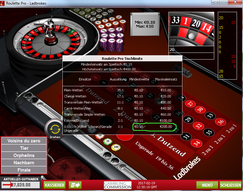 Online roulette maximaler einsatz